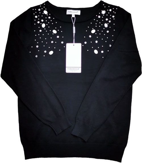 Stone and Pearl Sweater Black
