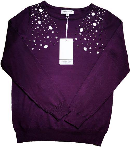 Stone and Pearl Sweater Aubergine